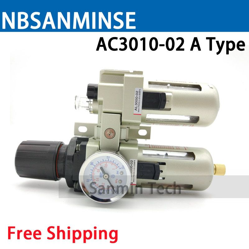 Sanmin Air Preparation Units AC 2010 1/8 1/4 3/8 1/2 3/4 1 Two Units Air Source Units SMC Type Air Compressor Parts Auto Drain