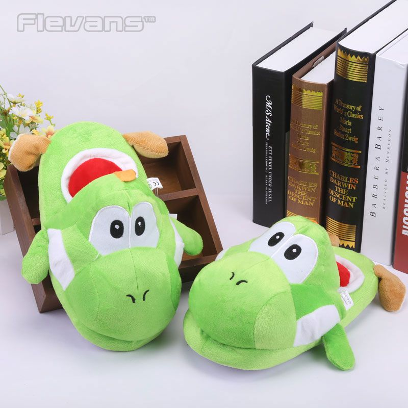 Super Mario Brother Dragon Yoshi Soft Toys Winter Men Women Cotton Indoor Warm Slippers Home Plush Shoes