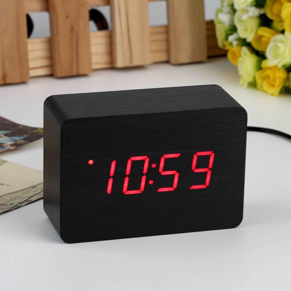 2017 Popular Modern sensor Wood Clock Dual led display Bamboo Clock digital alarm clock Led Clock Show time Voice Control