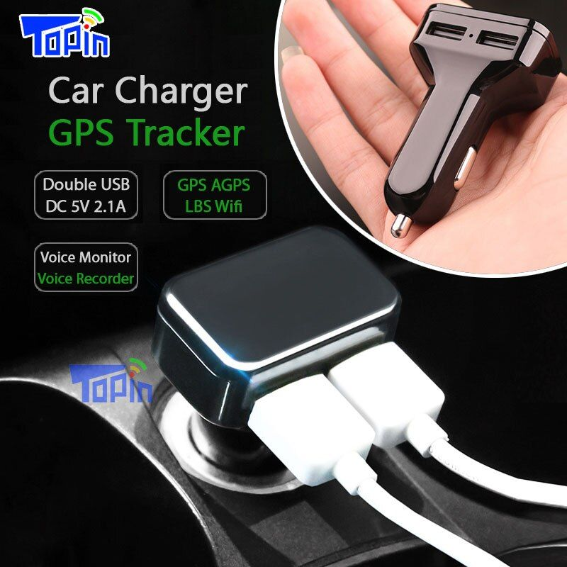 Topin CT2 Car Charger GPS Tracker GPS GSM Wifi LBS Real-time Tracking Call SMS Voice Monitoring Recorder Free APP Web ZX303 PCB