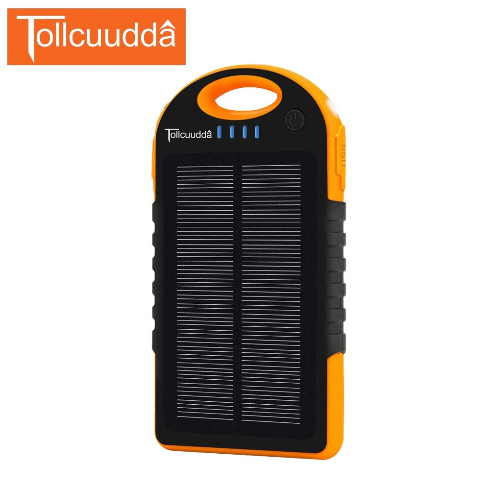 Tollcuudda10000mAh Poverbank Outdoors Solar Power Bank External Battery Portable Charger For all Cellphones Waterproof dustproof
