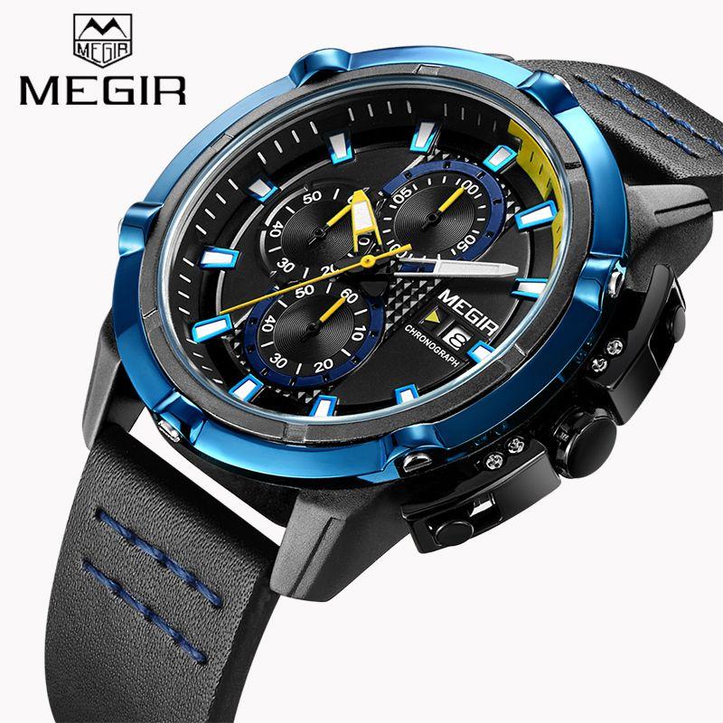 New MEGIR Brand Men's Chronograph Watches Luminous Hands Quartz Watch Army Military Fashion Sport Wristwatch relogio masculino