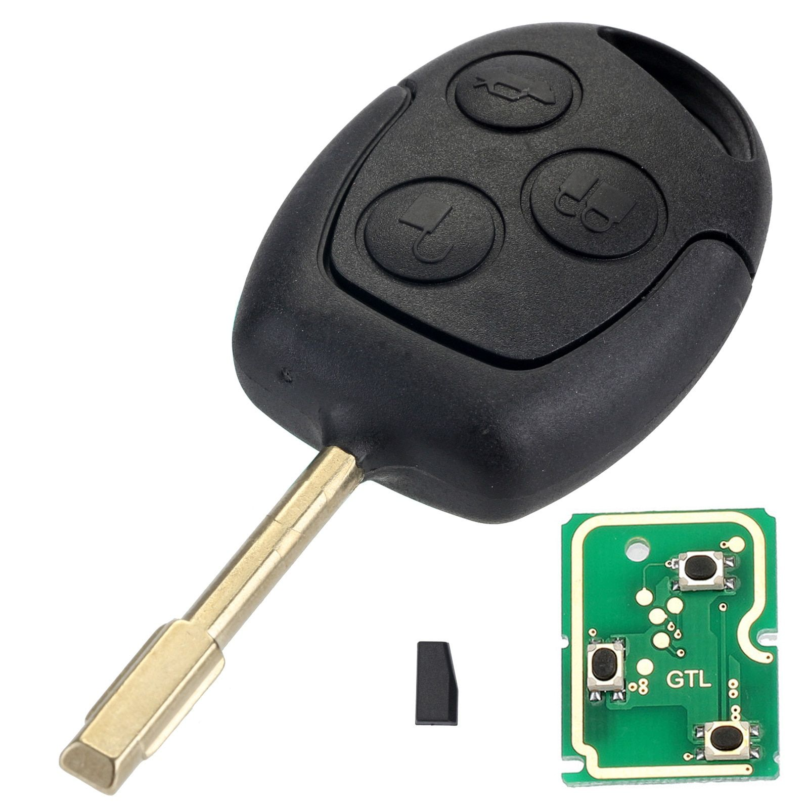 4D60 Remote Car Key Shell Case 433MHz Chip Car Key Case Replacement for FORD Focus Fiesta Mondeo C-MAX Fusion Transit KA D25