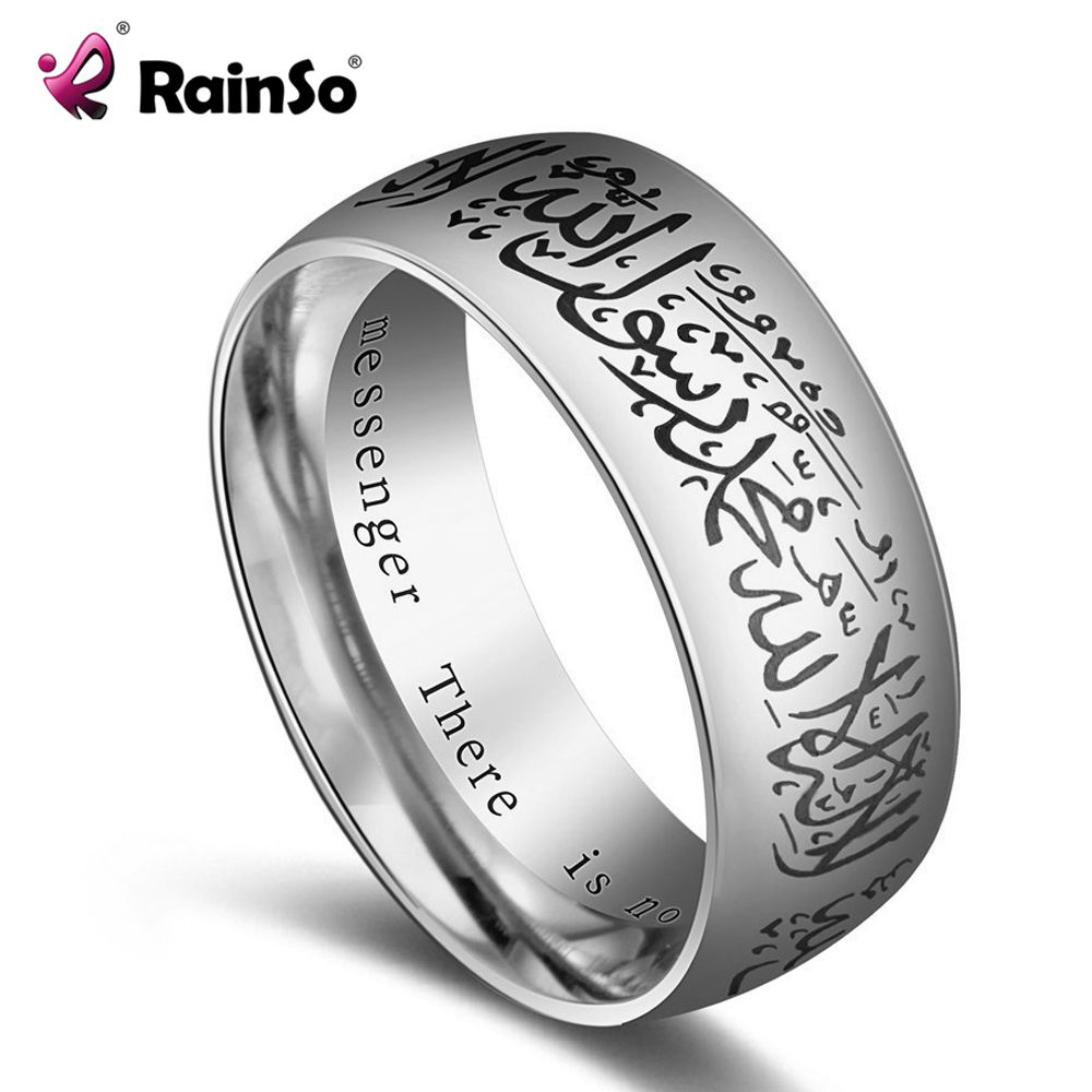 Rainso Stainless Steel Ring Trendy Ring man Titanium Steel Islamic Teach Muslim Ring Female Male 8 MM Size 7-14 JEW01536