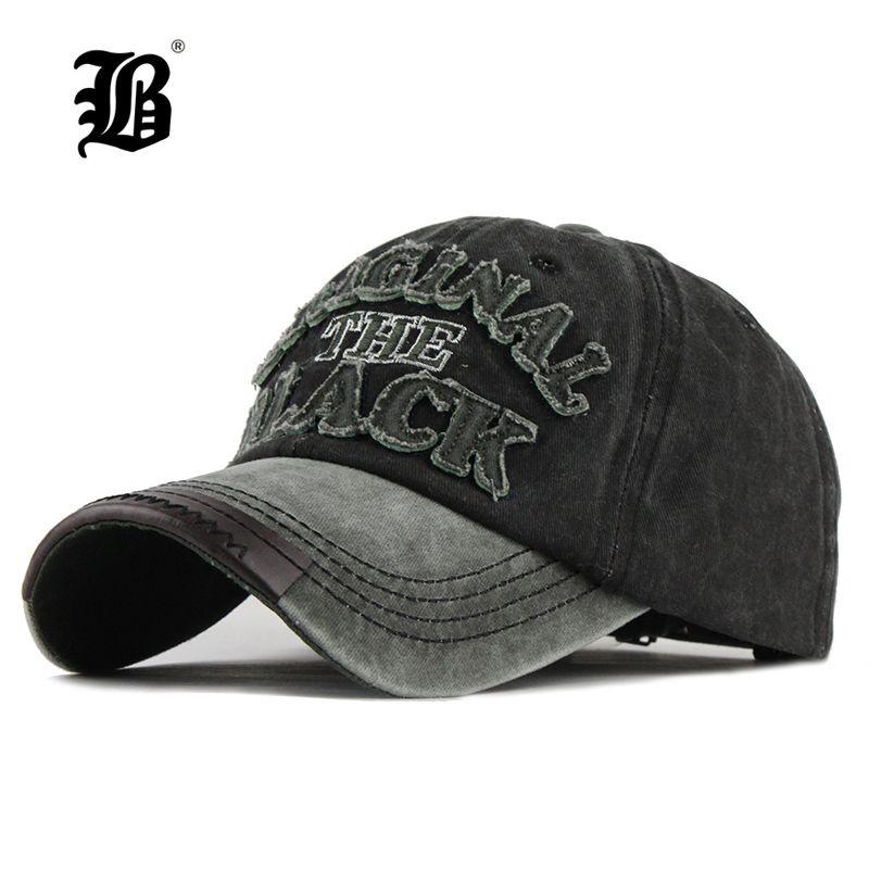 [FLB] chaud rétro lavé Casquette de Baseball équipée Casquette Snapback chapeau pour hommes os femmes Gorras décontracté Casquette lettre noir Casquette F122