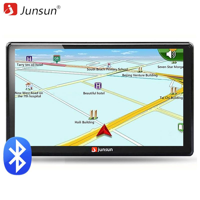 Junsun 7 inch HD Car GPS Navigation FM Bluetooth AVIN Map Free Upgrade Navitel Europe Sat nav Truck gps navigators automobile
