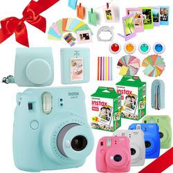 Fujifilm Instax Mini 9 Cámara 40 disparos Mini 8 instantánea papel fotográfico blanco + PU bolsa de transporte álbum + lente Close up + regalo