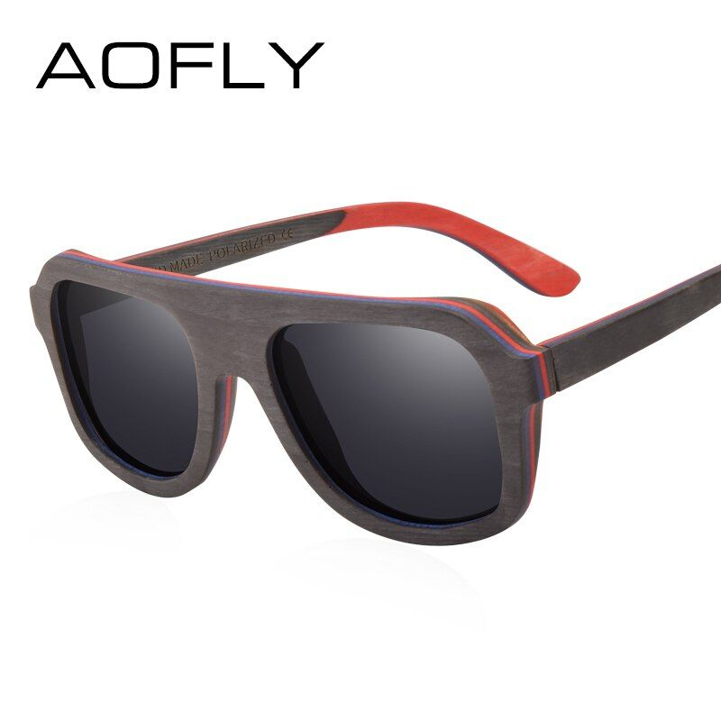 AOFLY BRAND DESIGN <font><b>Men</b></font> Sunglasses Bamboo Sunglasses Handmade Wooden Frame Polarized Mirror Lens Classic Gafas de sol UV400 AF618