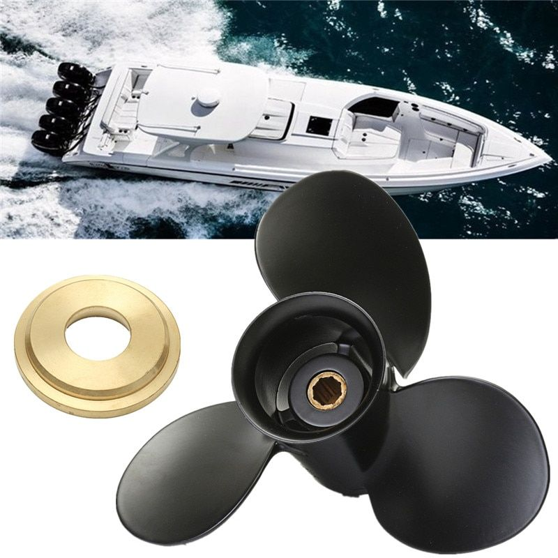 48-828156A12 Outboard Propeller For Mercury 6-15HP Aluminium alloy Black 3 Blades 8 Spline Tooth Fast Hole Shot Perform Well