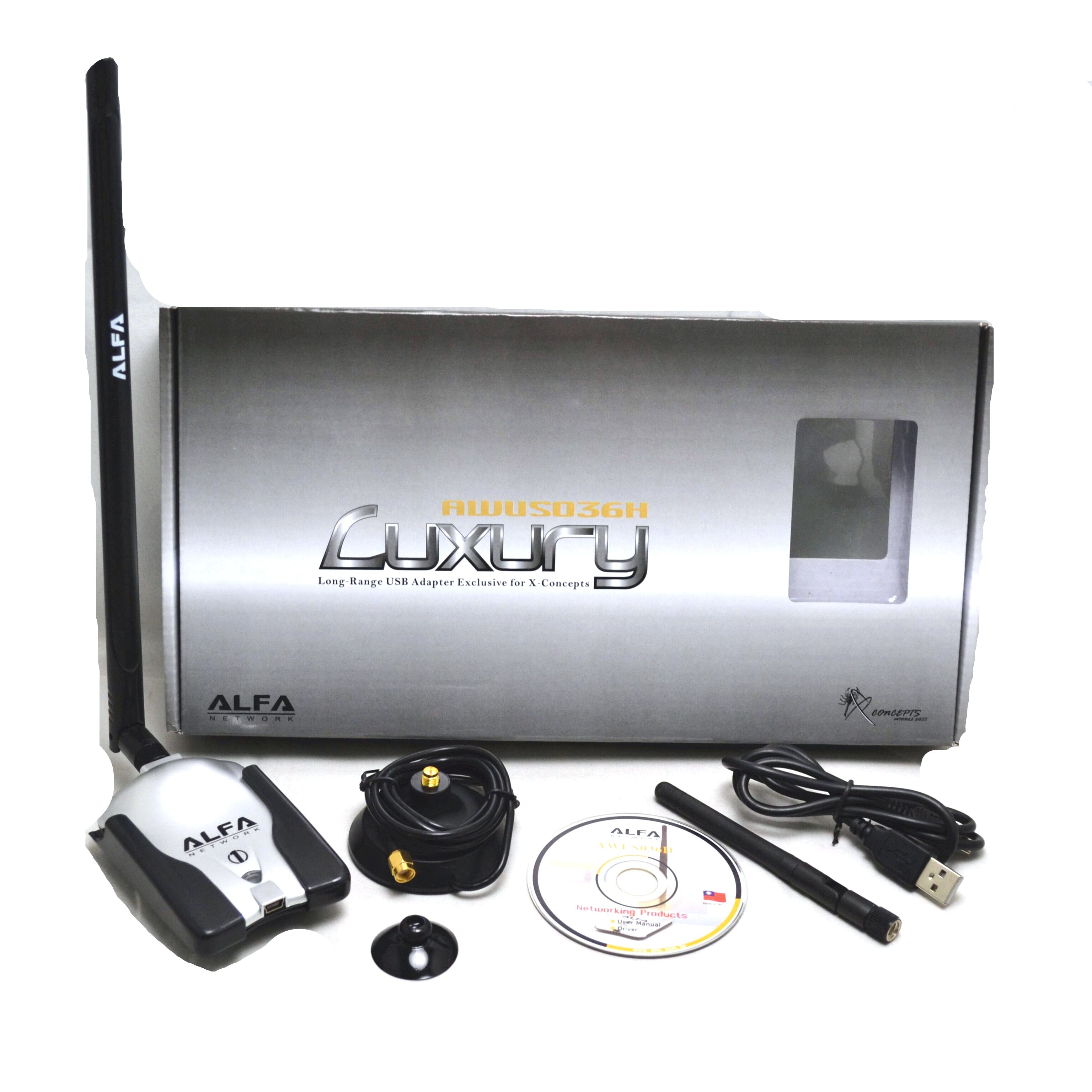Alfa AWUS036NH Wireless USB Wifi Adapter 150Mbps Luxury With 8dBi+2dBi Antennas High Power RT3070L