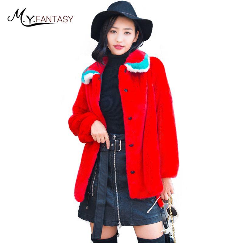 M.Y.FANSTY2017 Winter Import Swan Velvet Full Pelt Mink Coats Turn-Down Collar Real Fur Coat Women Medium Slim Causal Mink Coats