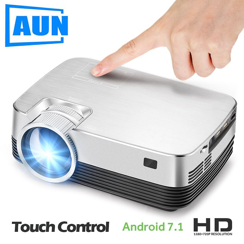 Brand AUN Q6. HD MINI Projector, 1280x720, Android Projector set in WIFI, Bluetooth. Video Beamer. 1080P, USB, HDMI out.