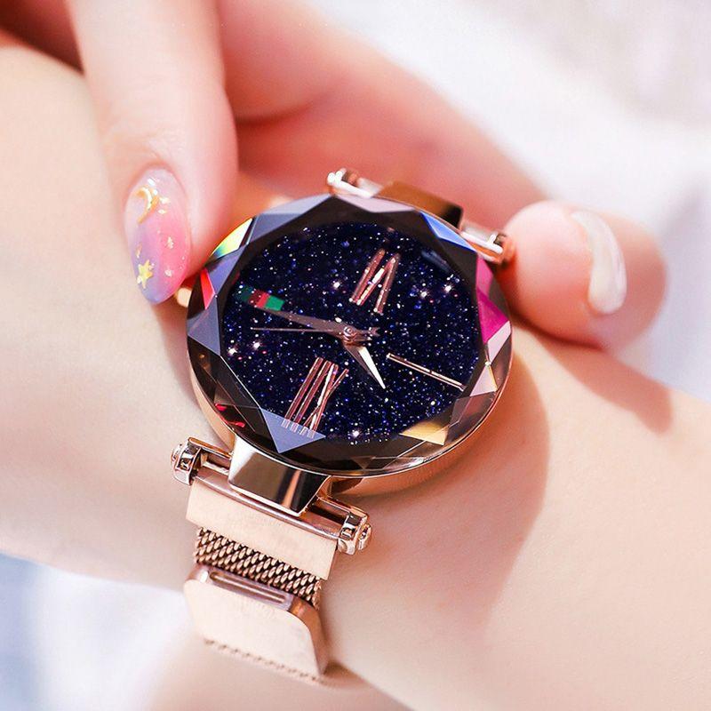 Montres femmes de luxe 2018 montre femme en or Rose ciel étoilé magnétique étanche montre-bracelet femme relogio feminino reloj mujer