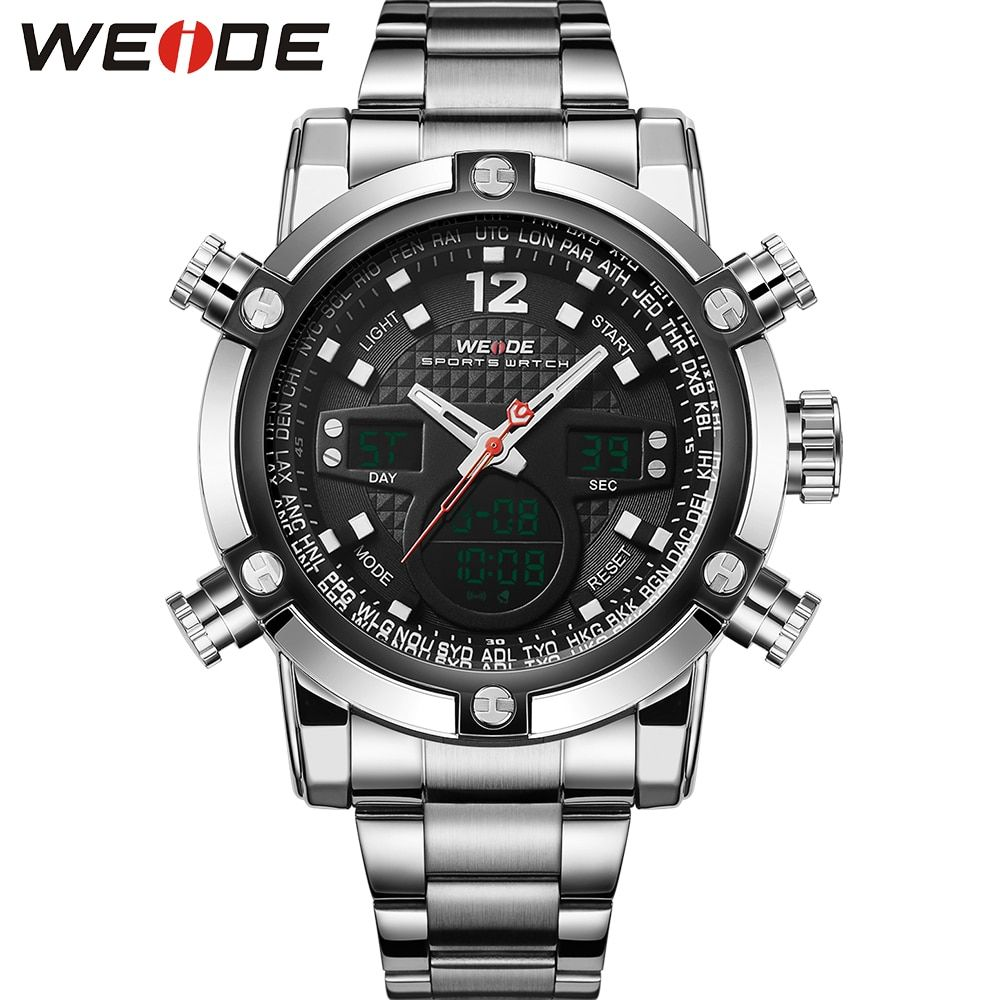 WEIDE 2 Time Zones Men Sports Date LCD Digital Analog Display Repeater Stopwatch Quartz Back Light Movement Military Watches Men