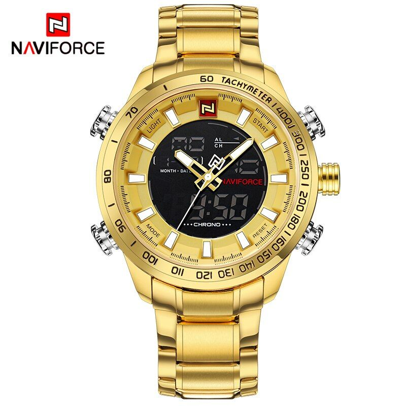 NAVIFORCE Luxury Brand Mens Sport Watch Gold Quartz Led Clock Men Waterproof Wrist Watch Male Military Watches Relogio Masculino