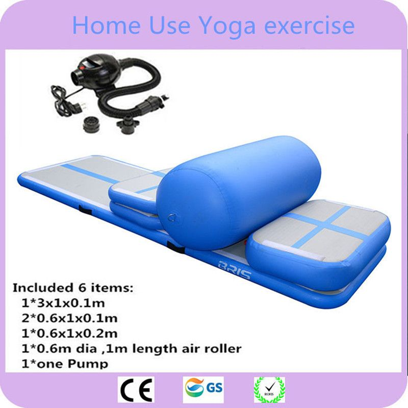 Free Shipping 6 Pieces(4 mat+1 roller+1 pump)Inflatable Home Gym Equipment Air Track Training Set / Air Gym Mat For Home Edition