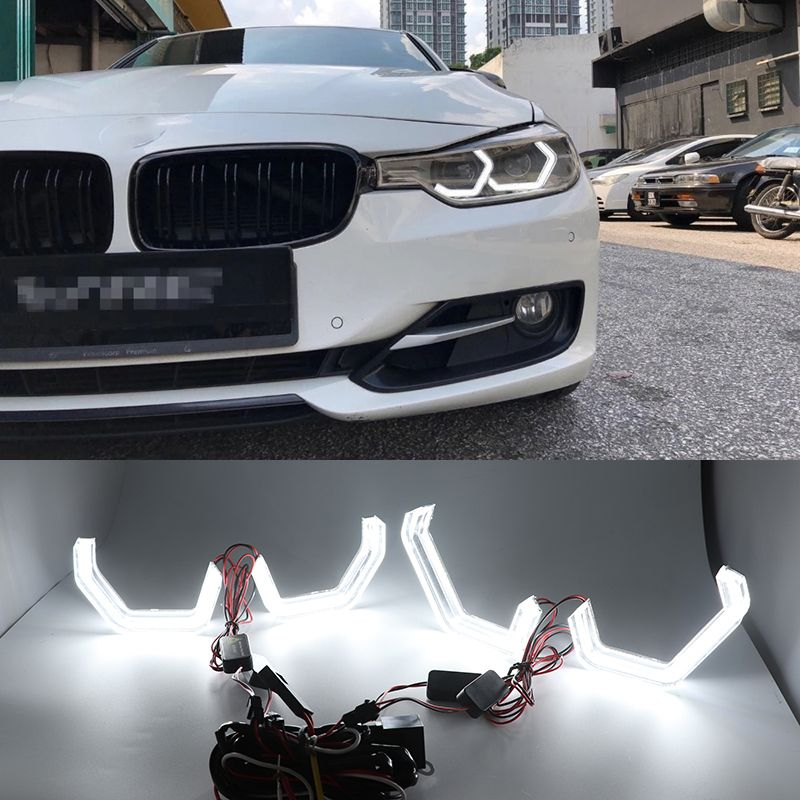 White Crystal Angel Eyes Kits ICONIC M4 Style day light DRL for BMW 3 series F30 320i 328i 335i 330i 340i 318i 330e 340i 2013-17