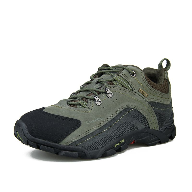 Clorts Men Hiking Boots Genuine Leather Low Cut Outdoor Hiking Shoes Uneebtex Waterproof Trekking Sport Sneakers 3D001A