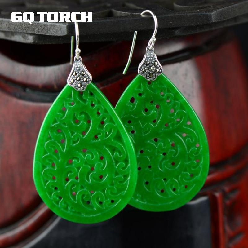 Natural Green Jade Earrings For Women Real 925 Sterling Silver Jewelry Hollow Flowers Design Water Drop Shaped