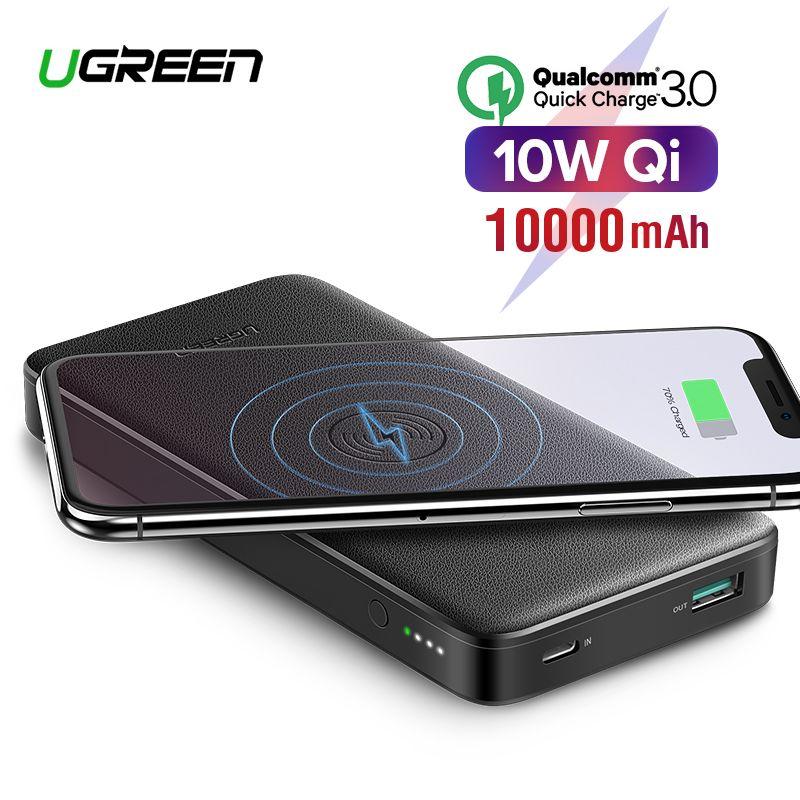 Ugreen rapide Charge3.0 batterie externe 10000 mAh Portable 10 W Qi sans fil chargeur batterie externe pour Xiaomi rapide sans fil batterie externe