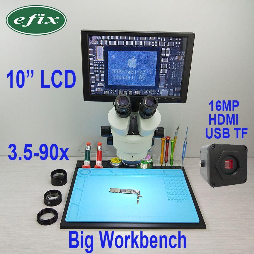 efix 16MP 3.5-90X HDMI USB Soldering Microscope Camera C-Mount Lens Trinocular Stereo Zoom 10
