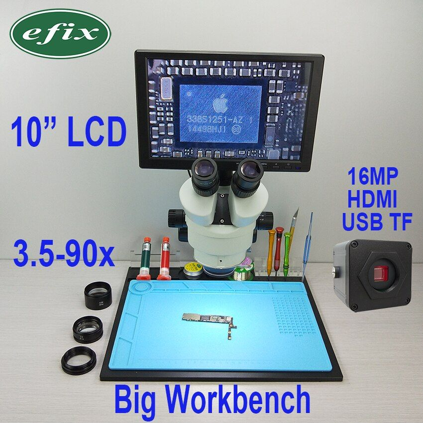 efix 16MP 3.5-90X HDMI USB Soldering Microscope Camera C-Mount Lens Trinocular Stereo Zoom 10