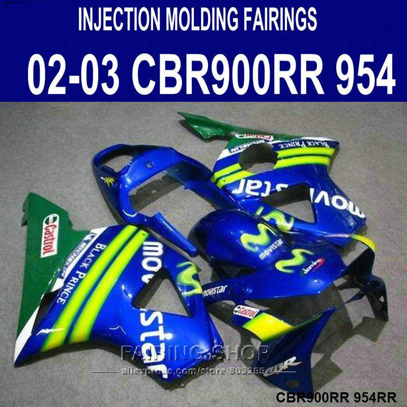 Injection mold Customize Fairing kit for Honda CBR900RR 954 CBR954 2002 2003 blue Movistar ABS fairings set CBR954RR 02 03 SD44
