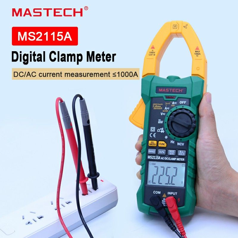 MASTECH Digital Clamp Meter MS2115A AC/DC 1000A Auto Range Clamp Meter Multimeter Clamp Current Meter Tester 6000 Counts