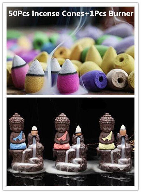 50 Pc cônes d'encens + brûleur créatif décor à la maison le petit moine petit bouddha encensoir retour brûleur d'encens utilisation dans la maison de thé