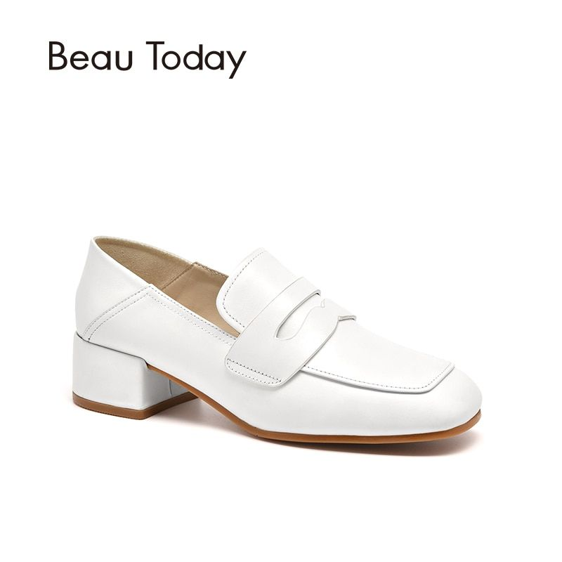 BeauToday Women Pumps Genuine Calfskin Leather Top Brand Square Toe Slip-On Lady Penny Shoes Handmade 15714