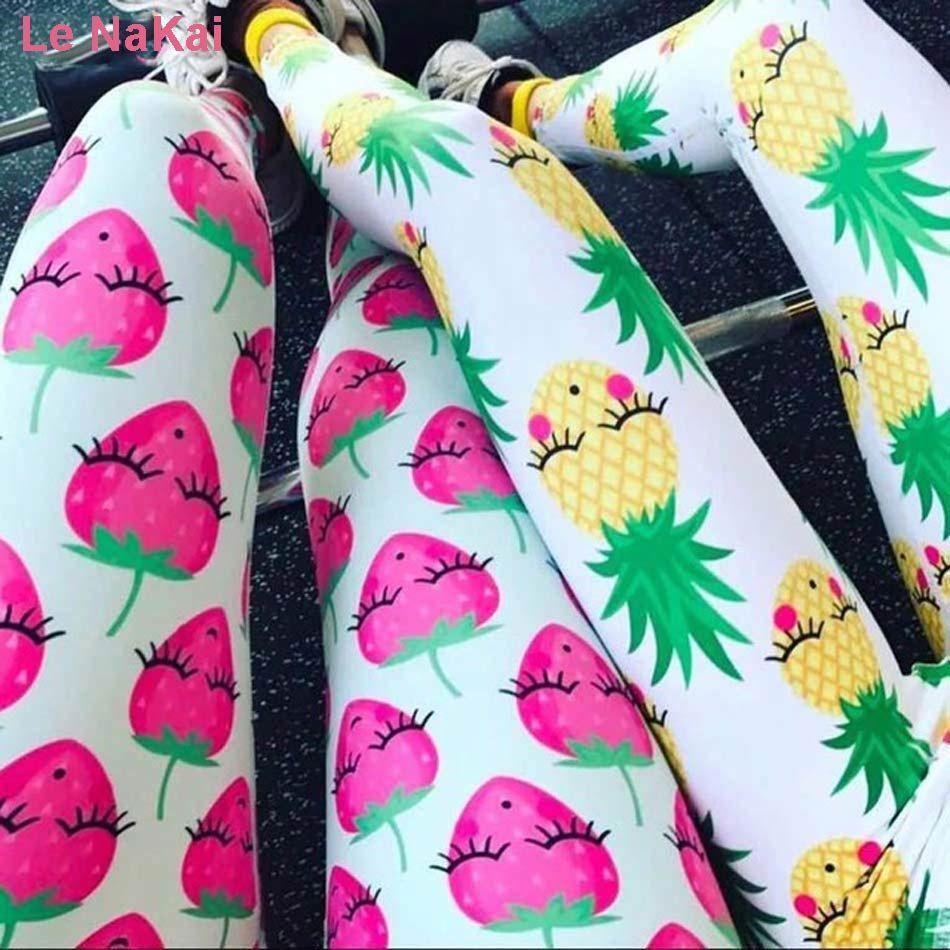 Le NaKai mignon Fruit imprimé femmes Yoga Leggings sourire fraise ananas et pastèque imprimé été Fun Gym collants
