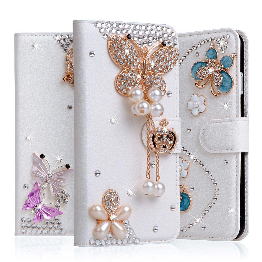 5c Diamant Bowknot Fleur Cas Coque Pour apple iphone 5C Cas strass Portefeuille Stand Flip PU Couverture En Cuir Fente Pour Carte Téléphone Sac