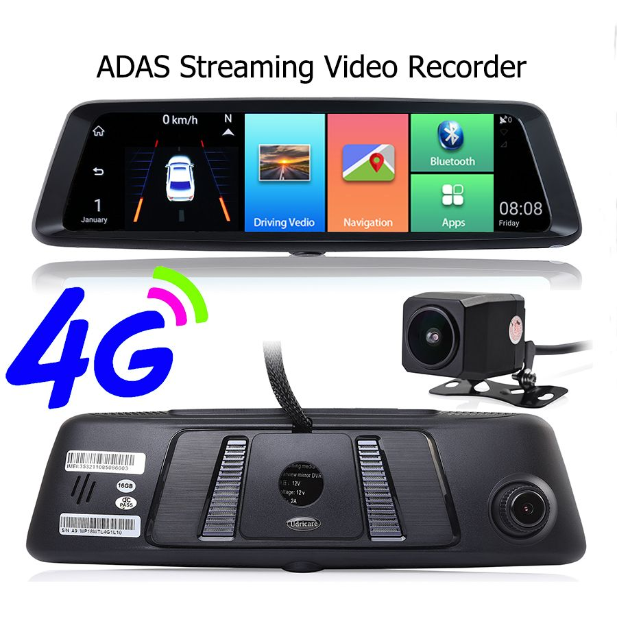 Otstrive 10 inch Streaming Video Recorder 4G Android WiFi Bluetooth ADAS GPS Navigation 1080P Dual Lens Rear View Mirror GPS DVR