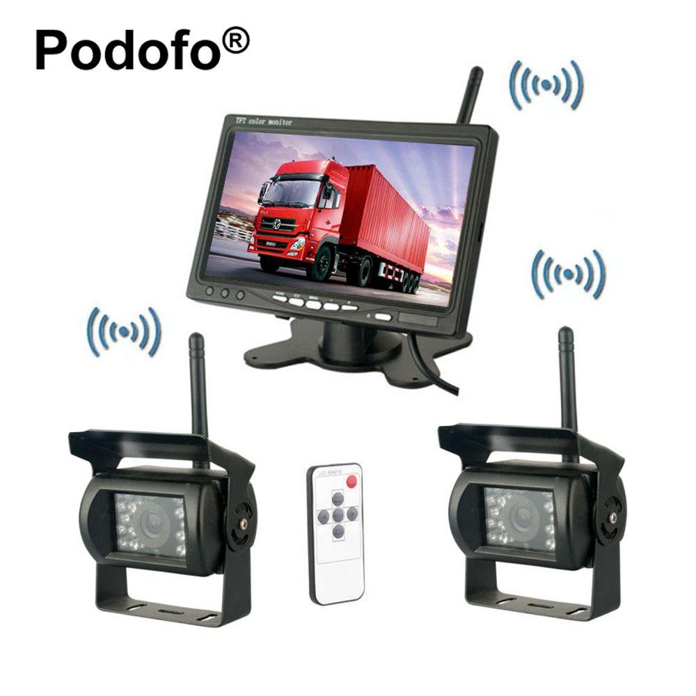 Podofo Wireless Dual Hintere Ansicht-unterstützungsrück Kameras Wasserdicht IR Rückfahrkamera 7