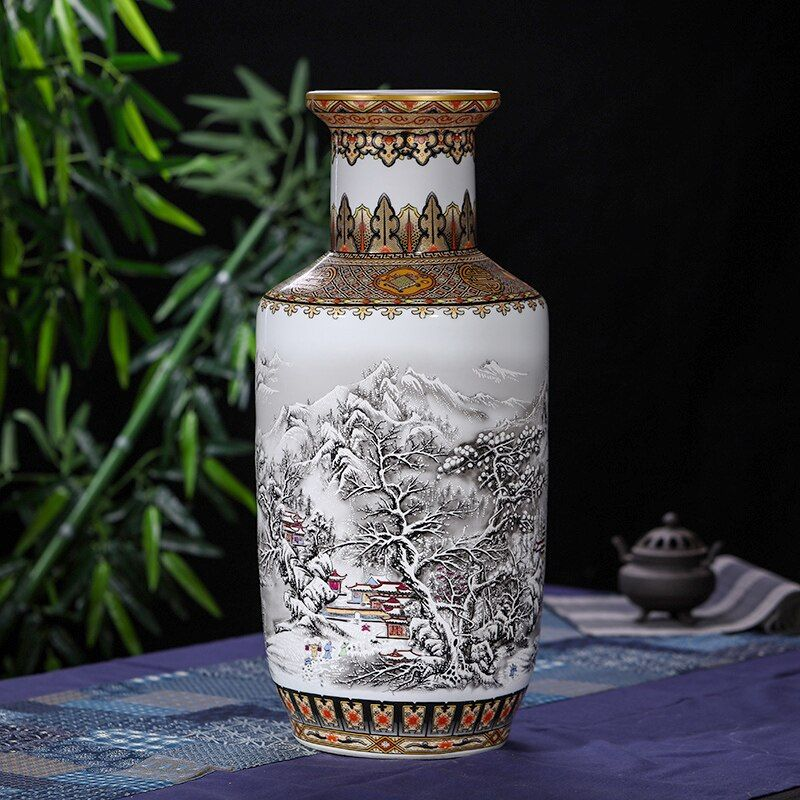 Antique Chinese Snow Floor Vase Jingdezhen Handmade Golden Drawing kangxi porcelain Large Floor Vase For Home Decor