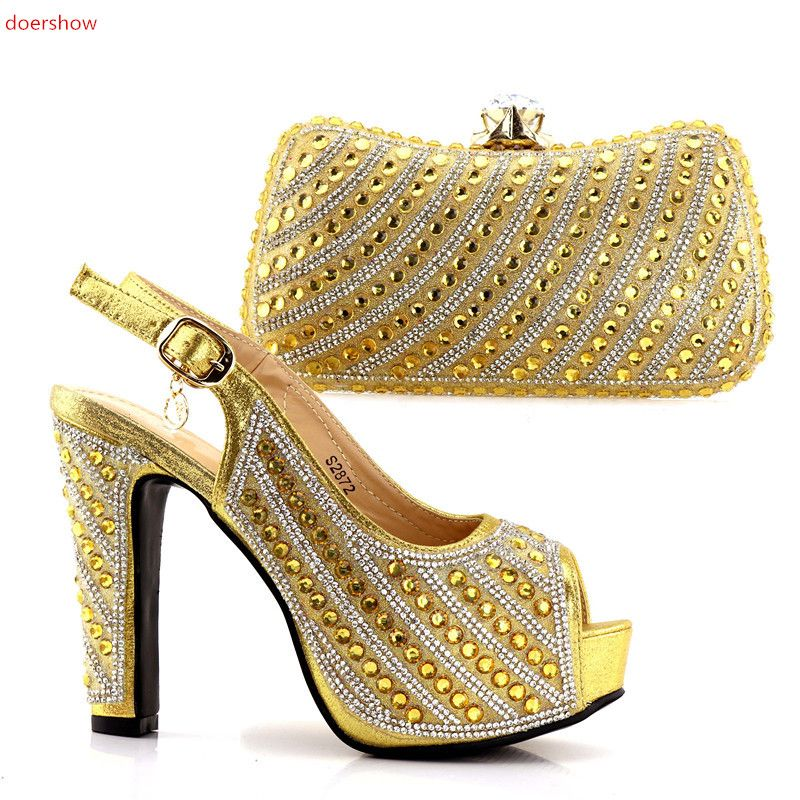 doershow fashion gold color Italian Shoes With Matching Bag High Quality Italy Shoe And Bag set For wedding and party SJCC1-15