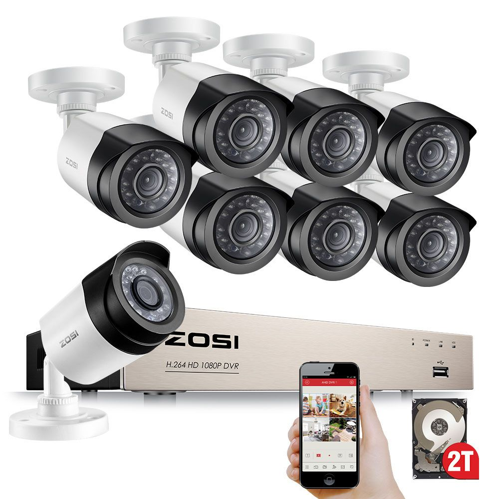 ZOSI HD 8CH 1080P 2.0MP Security Cameras System 8*1080P Outdoor Night Vision CCTV Home Security System 2TB HDD