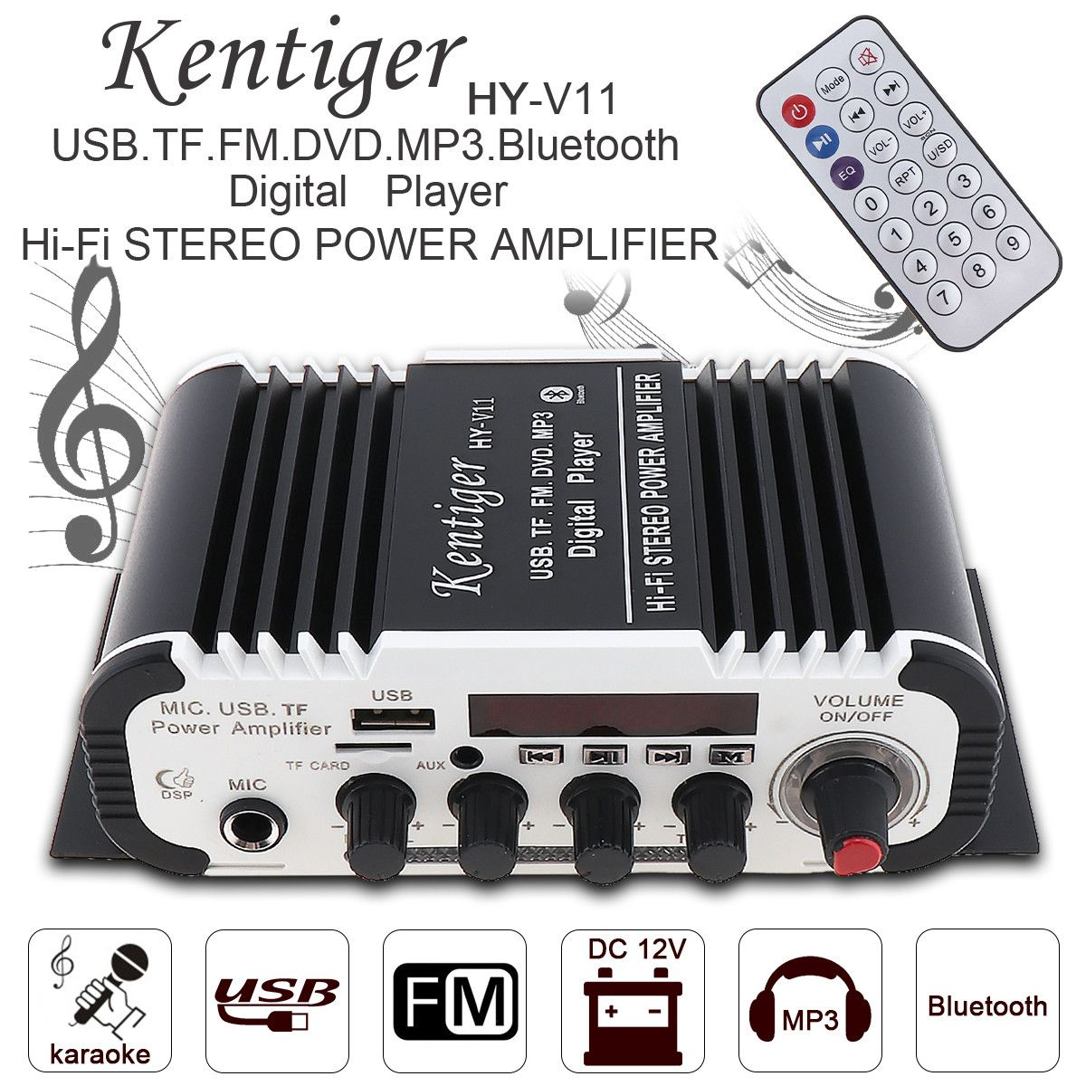 Kentiger 2CH HALLO-FI Bluetooth Auto Audio Power Verstärker FM Stereo Radio-Player Unterstützt SD USB DVD MP3 Eingang für Auto motorrad