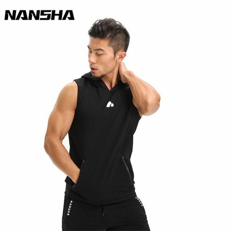 NANSHA Herren Baumwolle Hoodies Sweatshirts Fitness Kleidung Bodybuilding Tank Tops Männer Sleeveless Trend Tees Hemd Casual Golds Weste