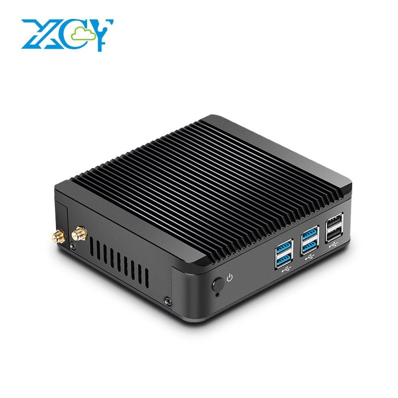 XCY Fanless Mini PC Celeron 3205U 3215U Windows 7/8/10 Supported HTPC HDMI VGA Dual Display Nettop PC Thin Client WiFi