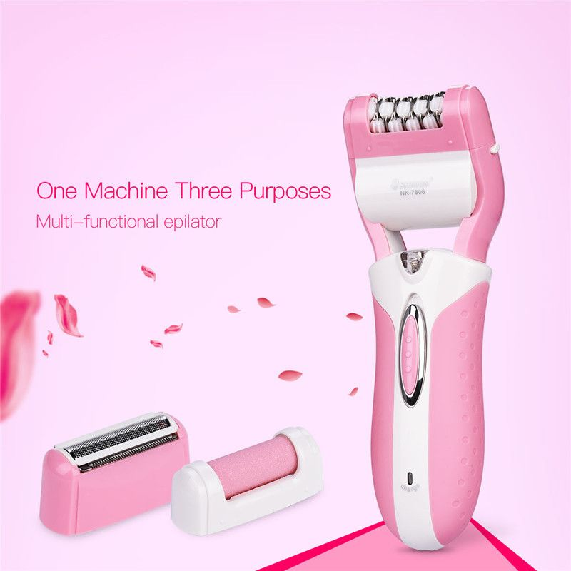 3-In-1 Rechargeable Electric Female Epilator Depilation Bikini Hair Removal Shaver Razor Foot Care Callus Remover for Women S47