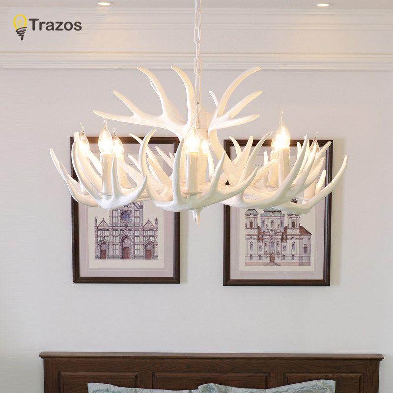 Antlers Resin Chandelier Lamp Modern White Antler Chandelier Lustre Chandeliers E14 Vintage Lights Novelty Lighting