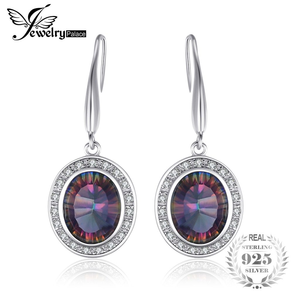 6ct Natural Rainbow Fire Mystic Topaz Dangle Earrings  Solid 925 Sterling Silver Brand New Hot Jewelry High Quality