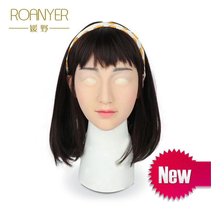 Roanyer crossdresser silicone artificial shemale mask realistic transgender latex sexy cosplay for male halloween masks