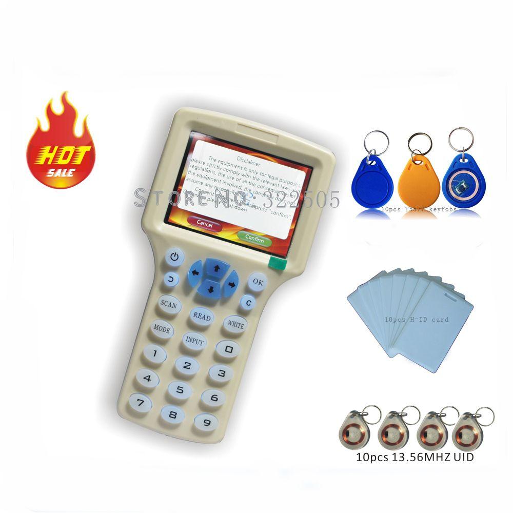Aktualisiert version Handheld 125 KHz-13,56 MHZ RFID Copier Writer Duplizierer mit Englisch verschlüsselungs software + 30 stücke Beschreibbare karten