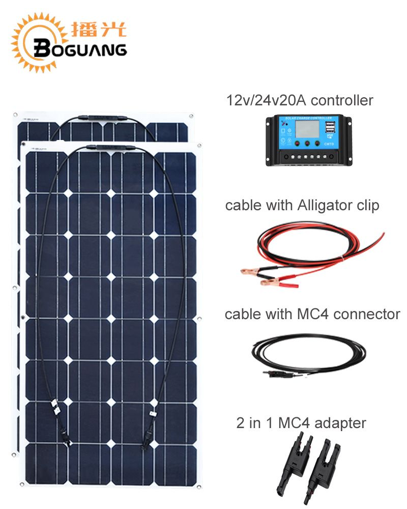 BOGUANG 200w Monocrystalline silicon Solar system 2PCS 100w solar panel cell module with 12V 20A controller cable MC4 connector