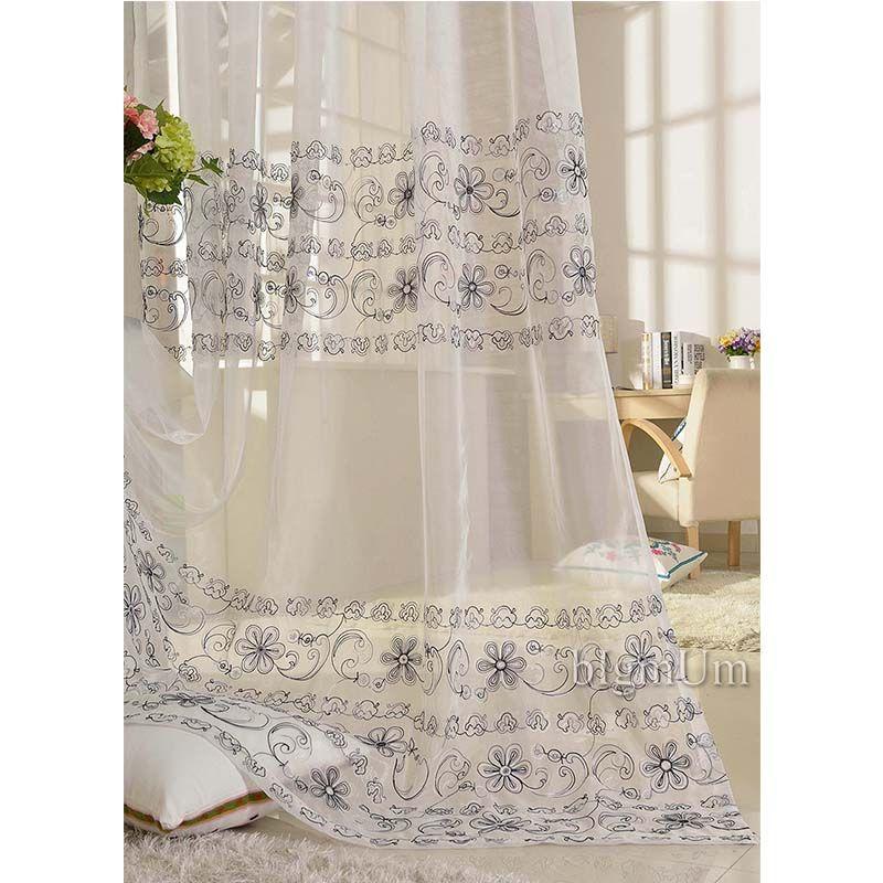Rideaux transparents brodés pour salon/chambre/hôtel traitement de fenêtre de luxe personnalisé Voile de Tulle fini