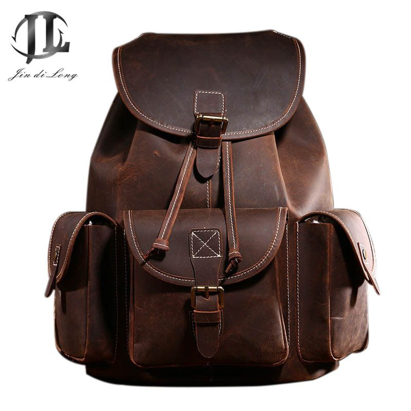 Genuine Leather Backpack Men's Bag Crazy Horse Leather <font><b>Retro</b></font> Coffee Daypack Cowhide Rucksack New Bag 2019 Top Quality Vintage