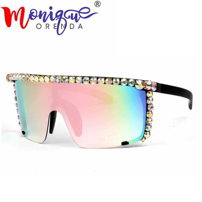 Oversize Sunglasses women Steampunk Mirror pink sunglasses men Red yellow Clear lens Goggle glasses