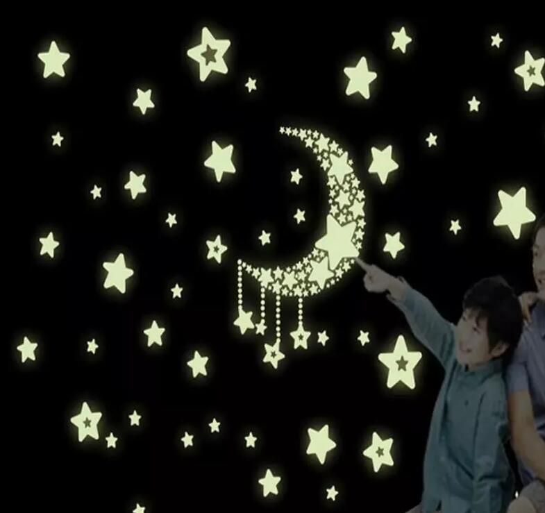 Colorful Glow Wall Stickers Luminous Star Sticker Fluorescent Glow In The Dark Baby Kids Bedroom Decal Stars Home Decor